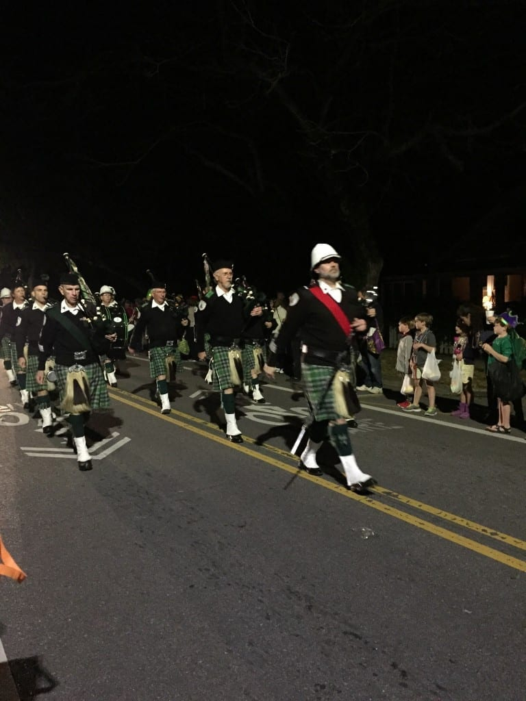 Marching Band in a Mardi Gras parade in Mobile, Alabama