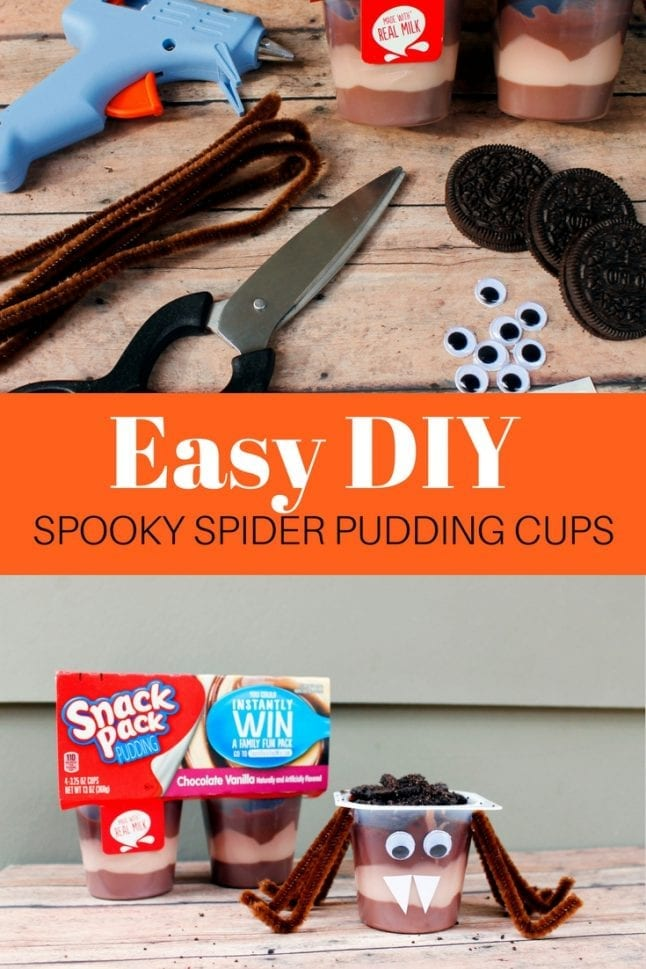 Get crafty with some of your kid's favorite snack! These easy DIY spooky spider pudding cups are fun to make and fun to eat!