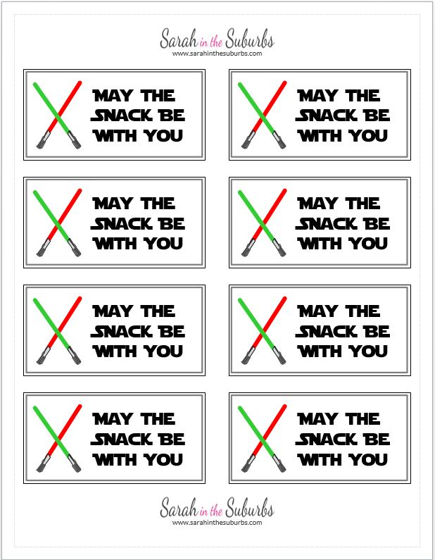 Star Wars™ Printable Snack Labels