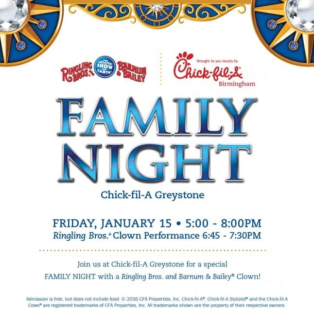 CFA Birmingham Circus Family Night 2016