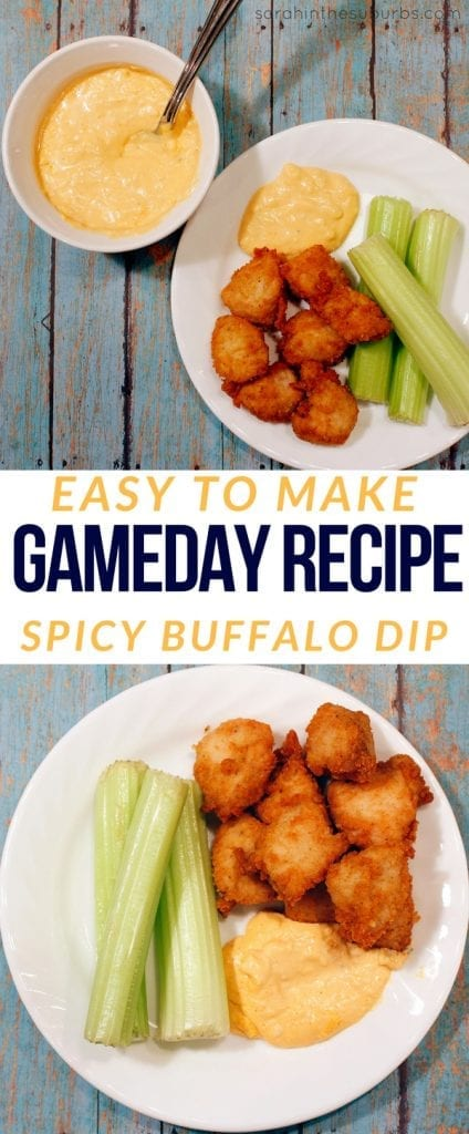 Easy appetizer recipes are the name of the game! Make this spicy buffalo dip in time for the big game, and your fans will never go hungry! Quick and easy ingredients and step by step directions make this simple and delicious. #appetizer #dip #biggame #snacking