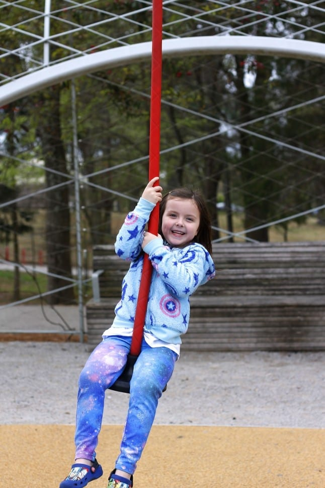 Swinging at Shelby Farms Park