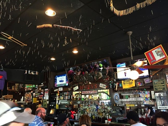 Toothpicks on the Ceiling at Hueys
