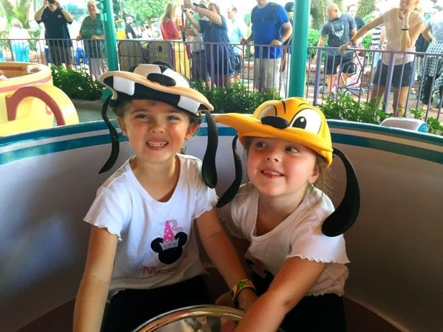 Sister Riding the Mad Tea Party at Walt Disney World