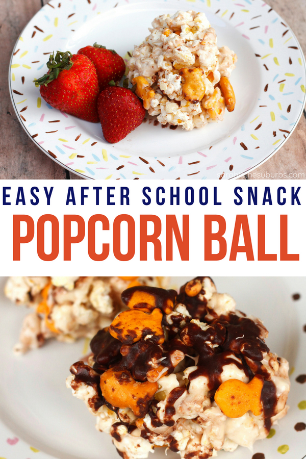 Easy after school snack recipe right here! Throw together some popcorn, baked crackers, and a little sweet drizzle and you've got a week's worth of snacks! #snackrecipe #kidfriendlyrecipe #popcornball #popcornsnack #snacksforkids