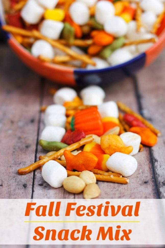 Happy fall, y'all! Enjoy this sweet and savory mix with your family and friends. It's easy to make and even easier to eat! #fall #fallrecipe #fallsnack #candycorn #snackmix #kidfriendly #kidfriendlysnack #easyrecipe #easysnack
