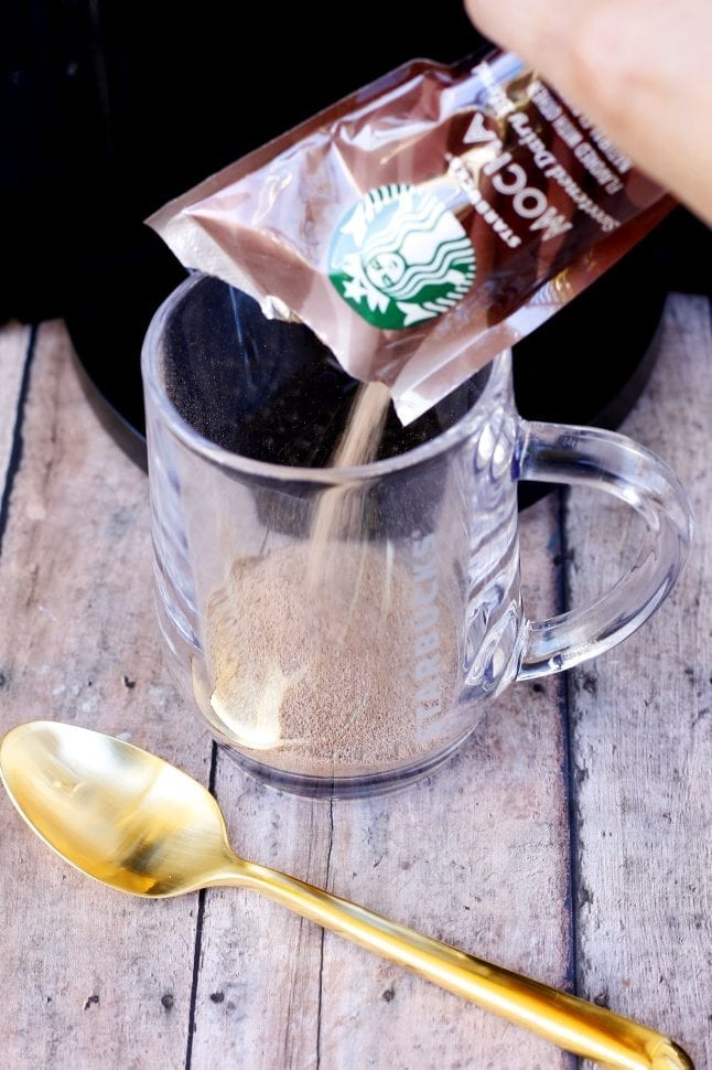 Pour your flavor packet into your mug for step 1.