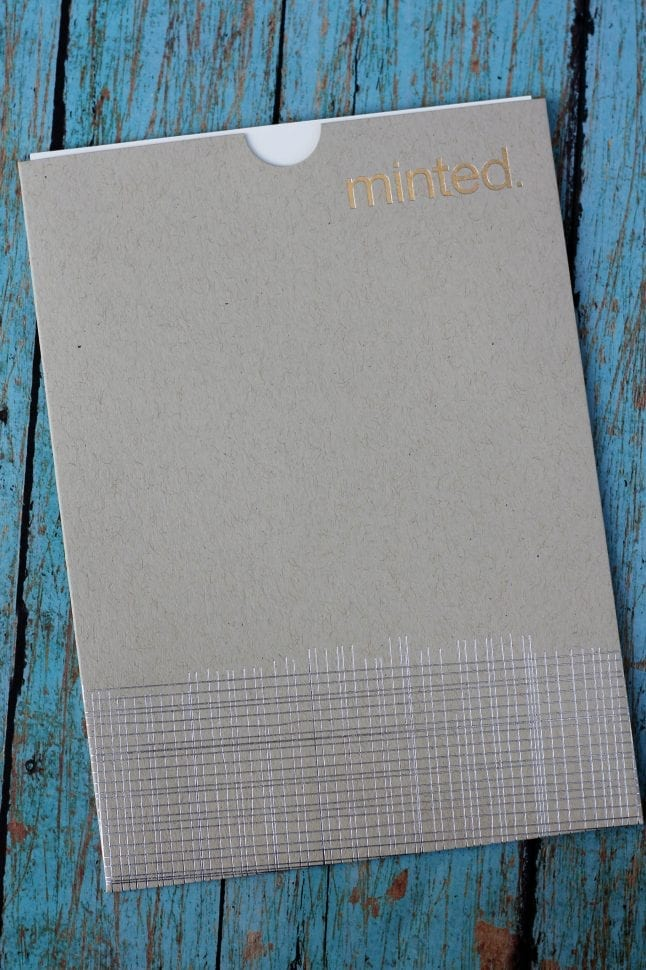 Christmas greetings from Minted come in beautiful packaging.