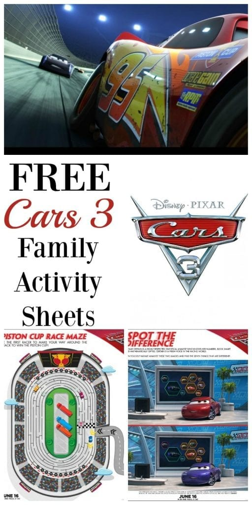 Get excited for Cars 3! If your little one can't wait to see Lightning McQueen and the gang again, print out these FREE family activity sheets! Cars 3 hits theaters June 16th!