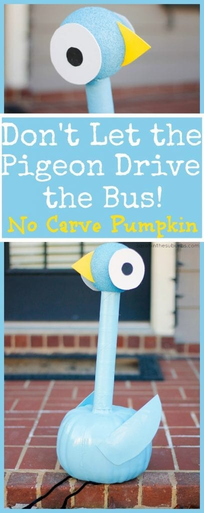 Do your kids love the Mo Willems series? We love the books about Pigeon! Make this no carve Pigeon pumpkin for Halloween, and your kids will love it. It's easy to replicate and a fun activity for kids.