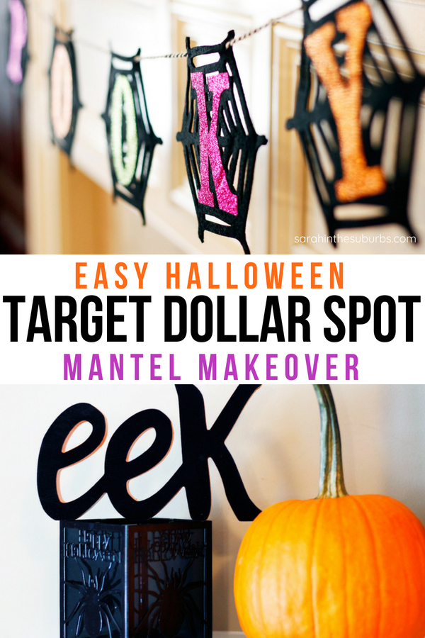 Decorating has never been easier thanks to Target's Dollar Spot. Grab some budget friendly items and complete this Halloween Mantle Makeover in less than 15 minutes. #halloween #decor #mantle #target #dollarspot #targetdollarspot #halloweendecor