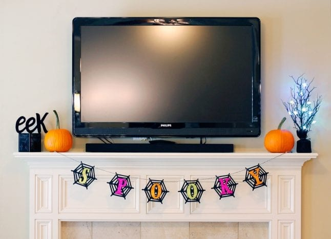 After my Halloween mantle makeover.