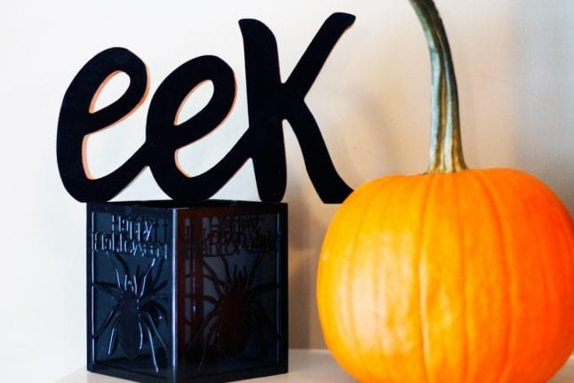 Eek is a fun way to spread Halloween fun on your festive mantle.