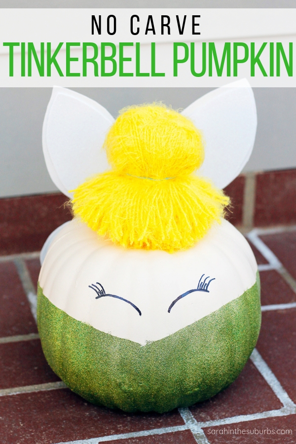 Need a last minute pumpkin decoration? Check out this tutorial for an easy, no carve Tinkerbell pumpkin. All it takes is a few supplies, faith, trust, and pixie dust! #disney #disneydiy #tinkerbell #tinkerbellpumpkin #diypumpkin #halloweendecor #halloweendiy #disneyhalloween