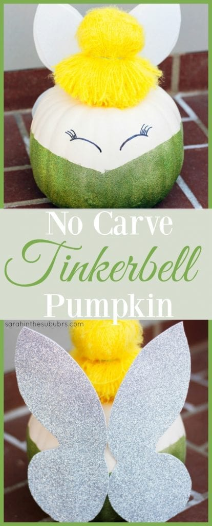 Need a last minute pumpkin decoration? Check out this tutorial for an easy, no carve Tinkerbell pumpkin. All it takes is a few supplies, faith, trust, and pixie dust!