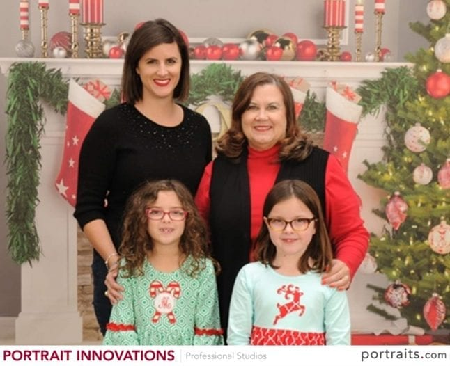 Family Christmas Photo ideas include taking photos inside at Portrait Innovations.