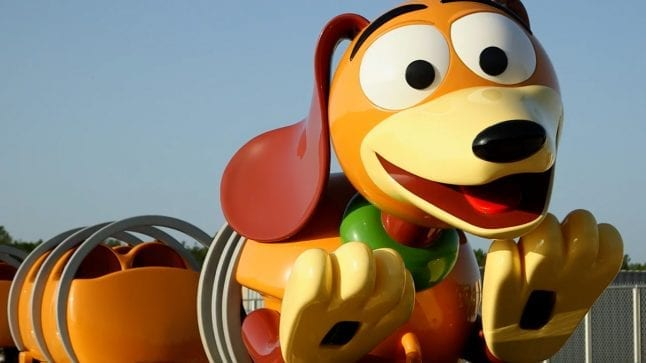 Slinky Dog coaster on the tracks.