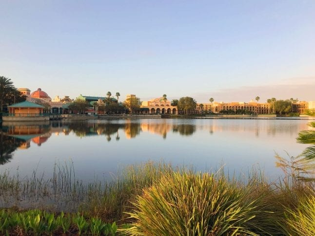 Lake view of Disney's Coronado Springs Resort