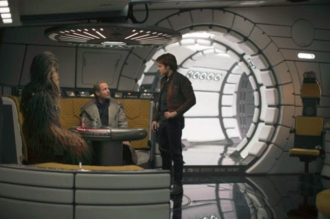 Scenes from Solo: A Star Wars Story. Chewie and Han on the Millennium Falcon.