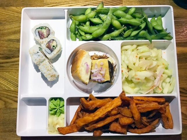 Bento box meals at The Cowfish are full of great food like burgers and sushi!