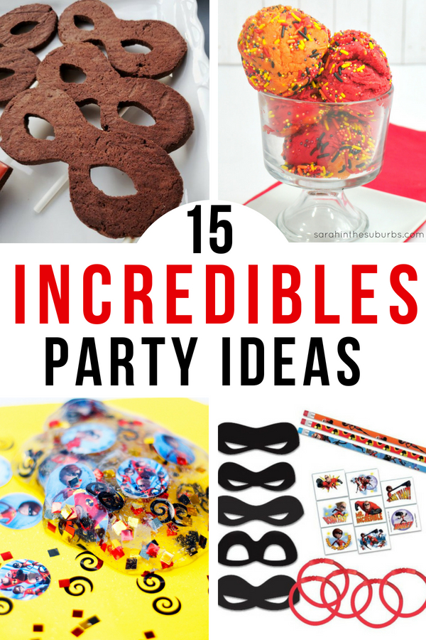 These Incredibles 2 party ideas are, well, incredible! From food to fun to decor, we've got your party plans covered! Check out the options for DIY and non-DIY ideas too! #Incredibles #Incredibles2 #BirthdayParty #PartyDecor #PartyIdeas #IncrediblesParty #IncrediblesPartyDecor #IncrediblesPartyIdeas