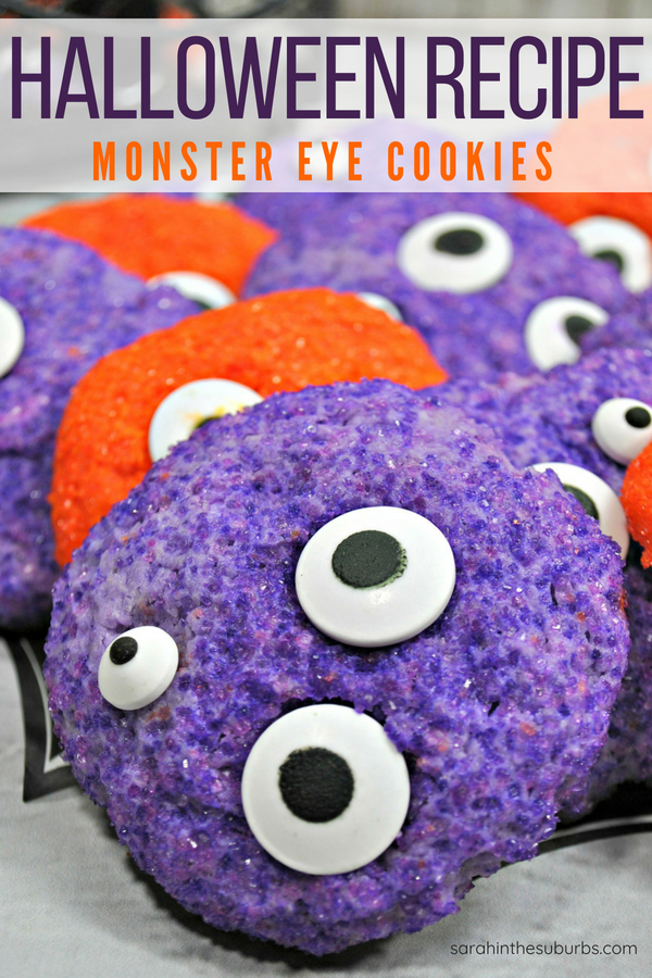 Need a fun, easy Halloween cookie recipe? Check out this fun Monster Eye Cookie recipe! Simple ingredients and easy instructions to follow. #baking #halloween #halloweenrecipes #halloweendesserts #cookies #cookierecipe #monstercookies