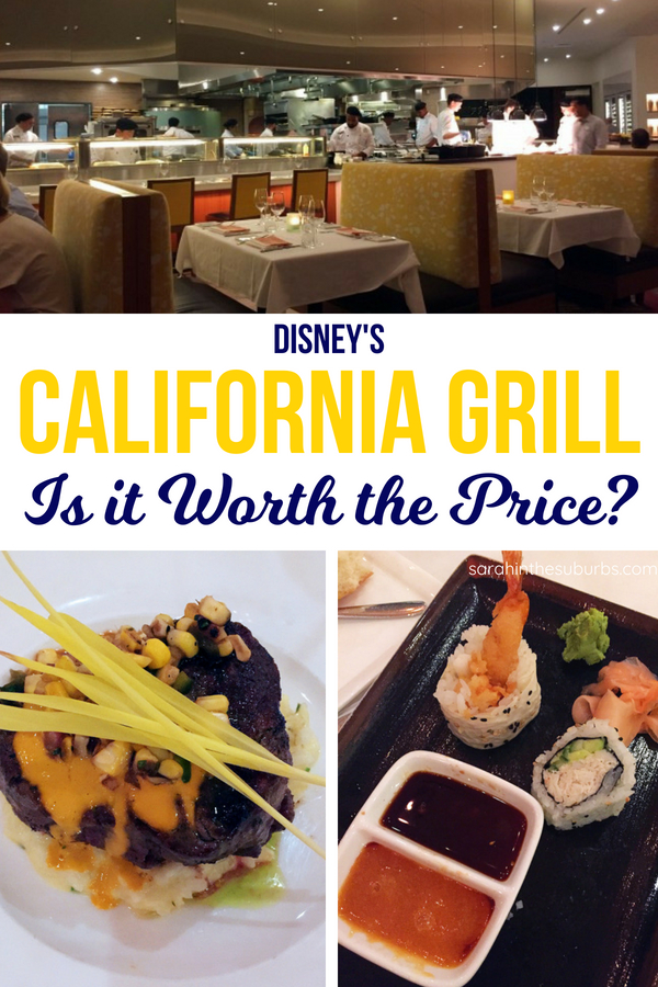 Is Disney's California Grill worth it? This pricey, signature restaurant is a coveted dining reservation, but why? Read all about the food, location, and ambiance of  this popular Disney table service restaurant. #disneytravel #disneydining #disneytips #diningreview #familyvacation #familytravel #disneyworld #disneyfood #disneyfoodblog