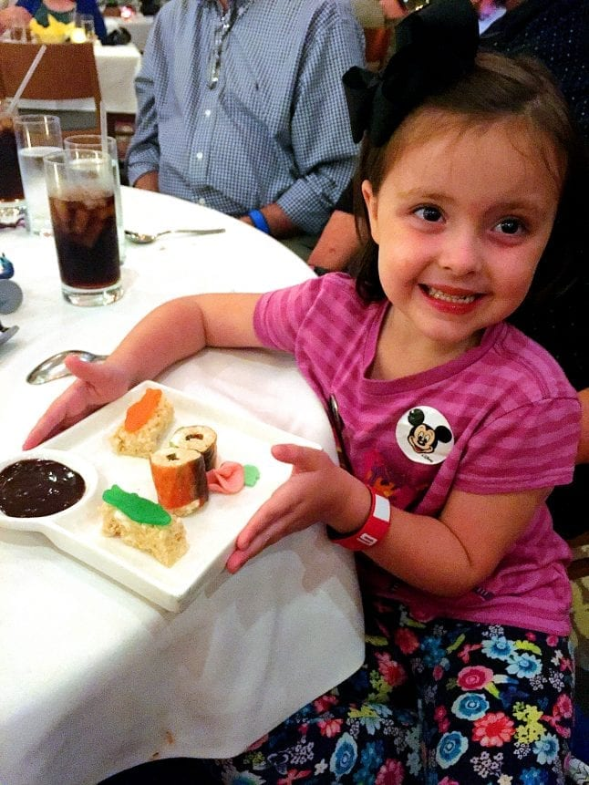 Dessert sushi for kids at Disney's California Grill.