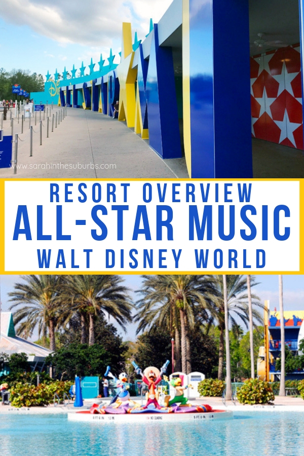 Considering a stay at Disney's All-Star Music Resort? Find out everything you need to know about this value resort on the Disney World property. #disneytravel #disneyvacation #disneyhotel #disneytips #disneyworld #disneyworldtips #familyvacation #familytravel #hotelreview #dsmmc