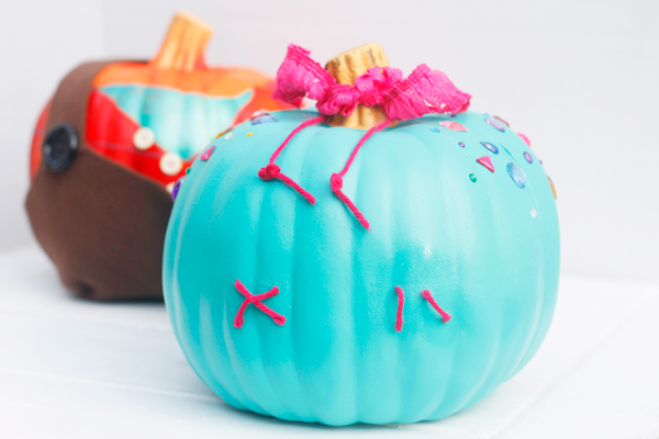 No carve pumpkin inspired by Vanellope from Wreck It Ralph.