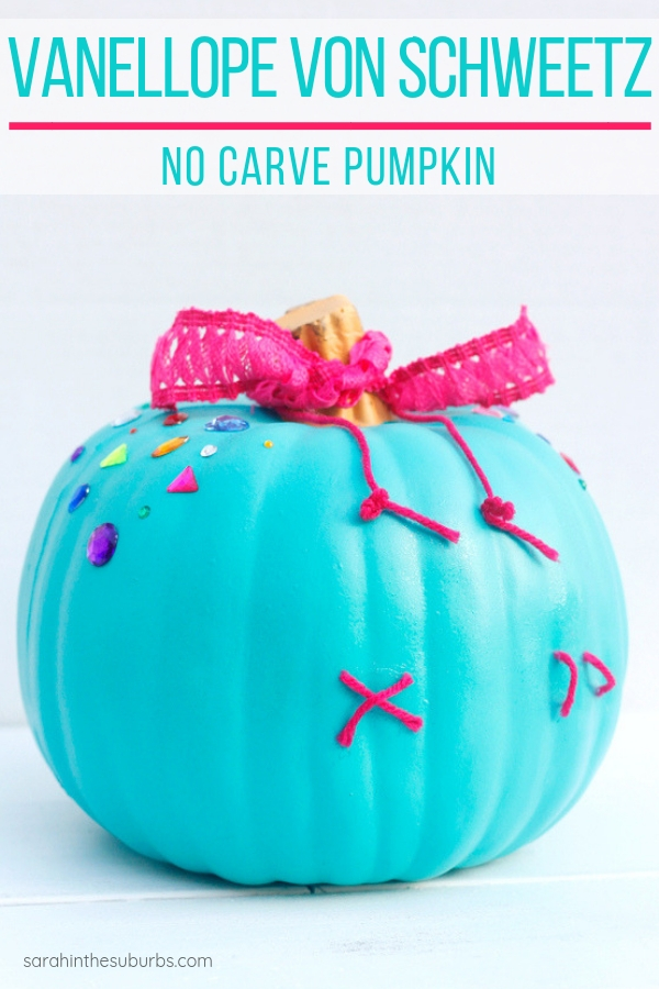 Vanellope Von Schweetz make a great inspiration for a no carve pumpkin! Find out how you can recreate your own Vanellope pumpkin with these easy instructions! #diy #halloweendiy #ralphbreakstheinternet #nocarvepumpkin #halloweendecor #kidfriendly #easyhalloweendiy #decorating