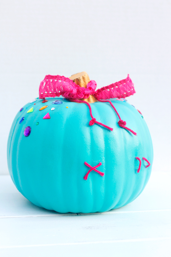 Vanellope no carve pumpkin is easy for a Halloween DIY.