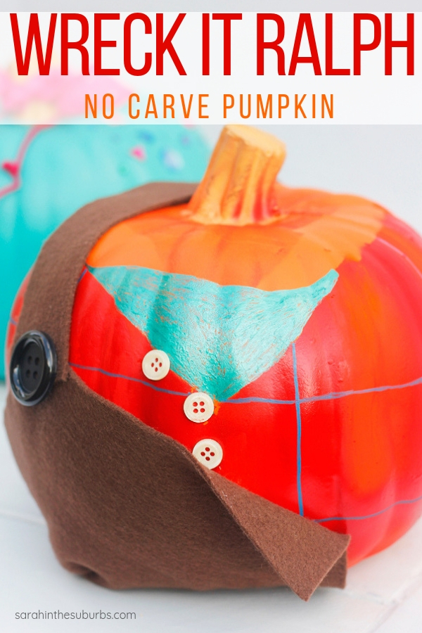 Make this easy Wreck It Ralph no carve pumpkin for Halloween! Instructions for how to replicate this look are included in less than 10 steps. See the sequel Ralph Breaks the Internet in theaters this November! #halloweendecor #kidfriendly #easyhalloweendiy #decorating