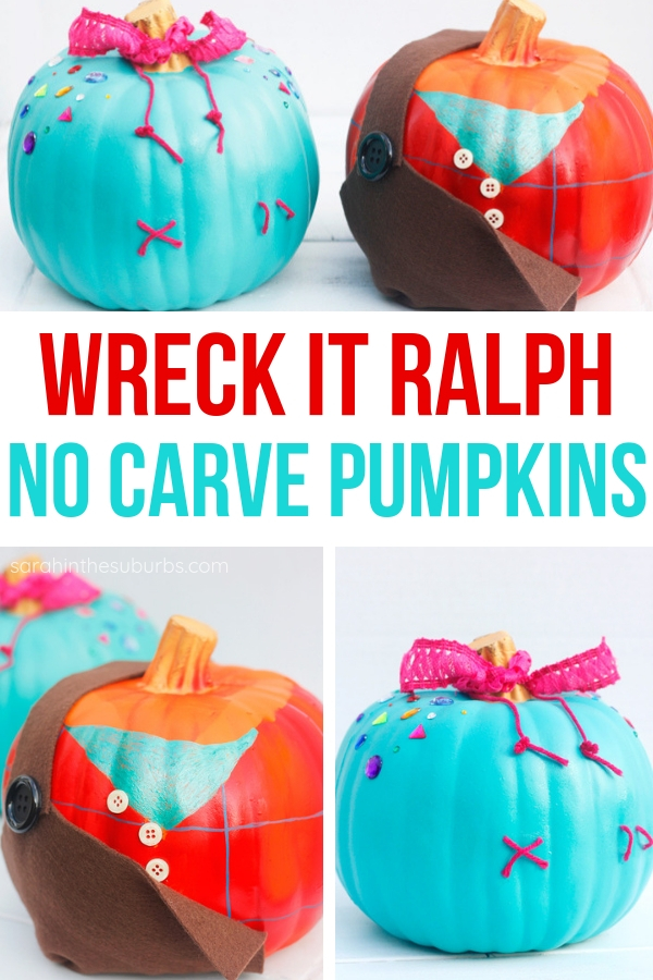 Ralph Breaks the Internet is the sequel we've all been waiting for! Make your Halloween extra sweet with these easy, no carve pumpkins inspired by your favorite Wreck It Ralph characters! #halloween #nocarvepumpkins #ralphbreakstheinternet #wreckitralph #vanellope #decorations #halloweendecor #disneymovies #kidfriendly #easydiy