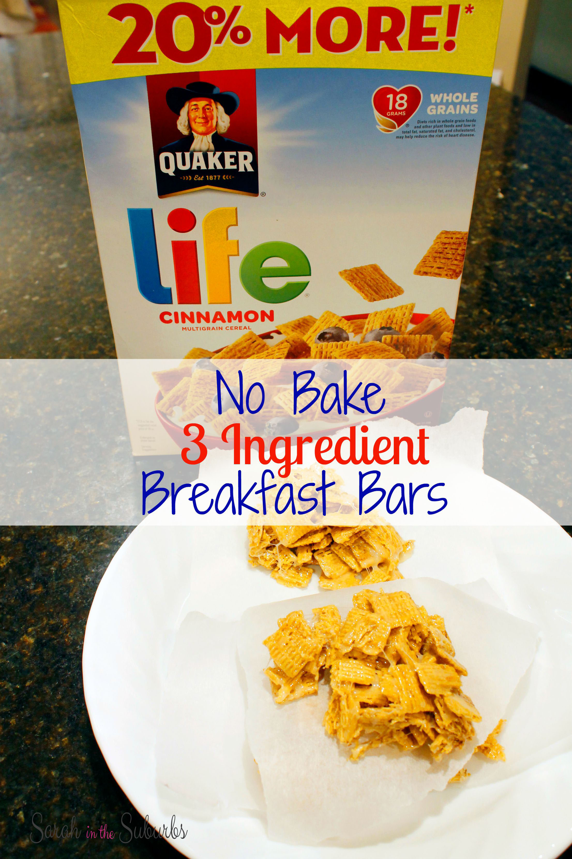 No Bake 3 Ingredient Cereal Bars Quakertime Sarah In The Suburbs