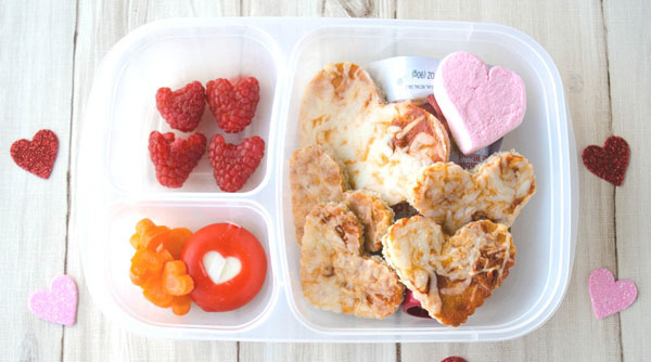 Valentines Day Bento Lunchbox with heart shaped foods.