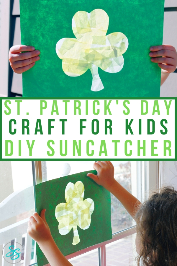 Celebrate St. Patrick's Day with this easy to make shamrock sun catcher. Made with glue, tissue paper, and construction paper, this simple project is less mess and more fun! #stpatricksday #craftsforkids #suncatcher #diycraft