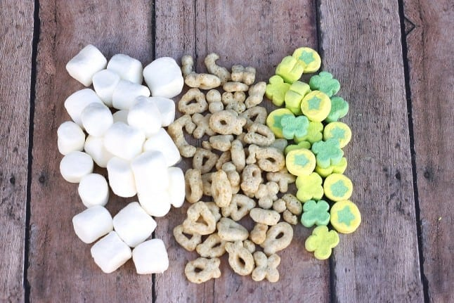 Ingredients for Lucky Charms marshmallow bars