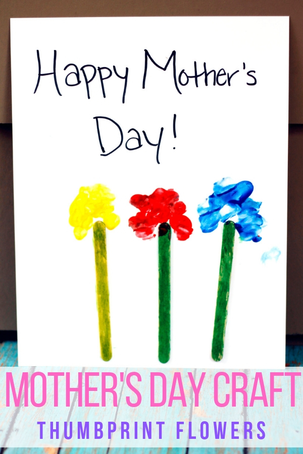 This thumbprint flowers Mother's Day craft is an easy way for kids to show mom they love her. #mothersday #craftsforkids #easydiy #kidscrafts