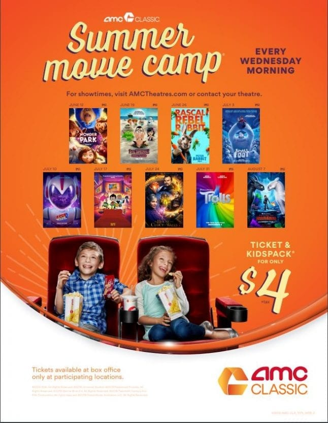 Check out the AMC summer camp movie schedule for the 2019 season.