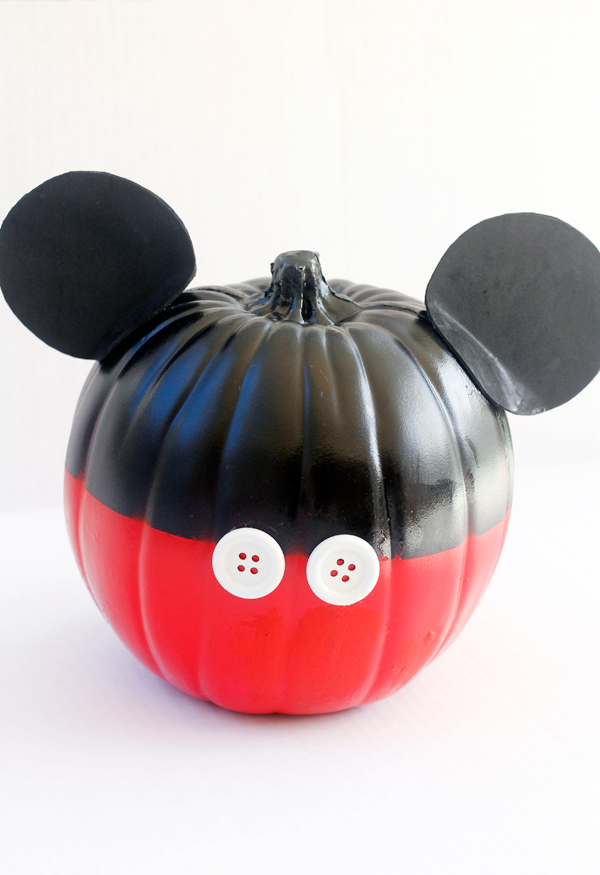 Mickey Mouse inspired no carve pumpkin.