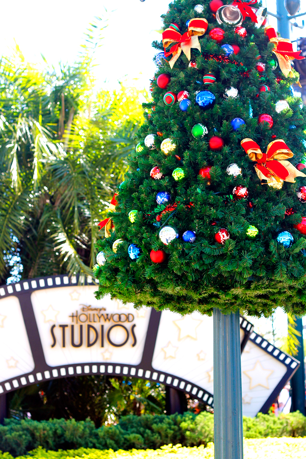 Decorations at Hollywood Studios during Christmas at Disney World