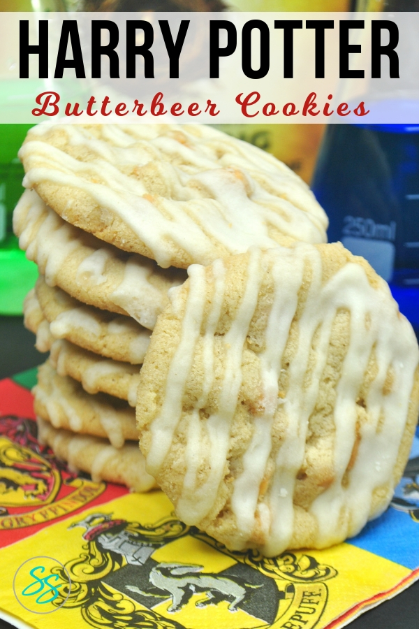 Make these delicious Harry Potter butterbeer cookies in just a few easy steps! Follow my directions for delicious maple flavored goodness inspired by Harry Potter's favorite drink! #harrypotter #butterbeer #cookies #cookierecipe #butterbeercookies #harrypottercookies #harrypotterparty