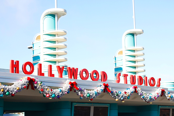 Hollywood Studios entrance at Christmastime