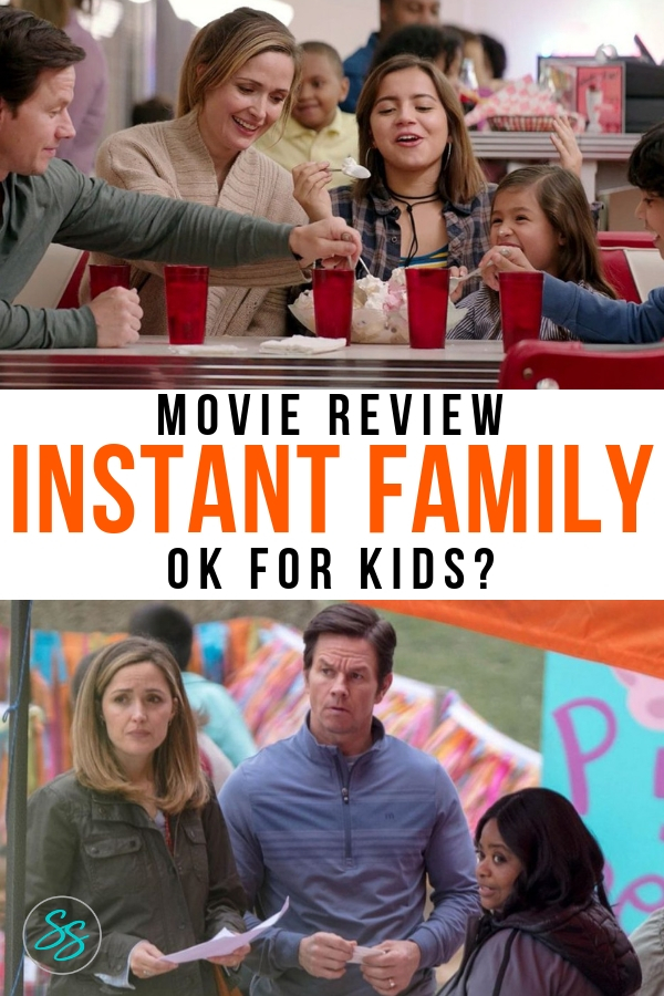 Is Instant Family safe for kids? This sweet film about foster care and adoption is a great conversation starter, but it may not be appropriate for all ages. Full review inside! #instantfamily #moviereview #markwalhberg #rosebryne #octaviaspencer #familyfriendlymovie #mommoviereview