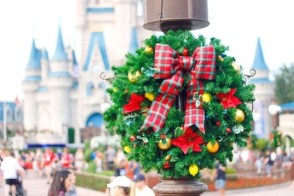 Magic Kingdom decorations at Christmastime