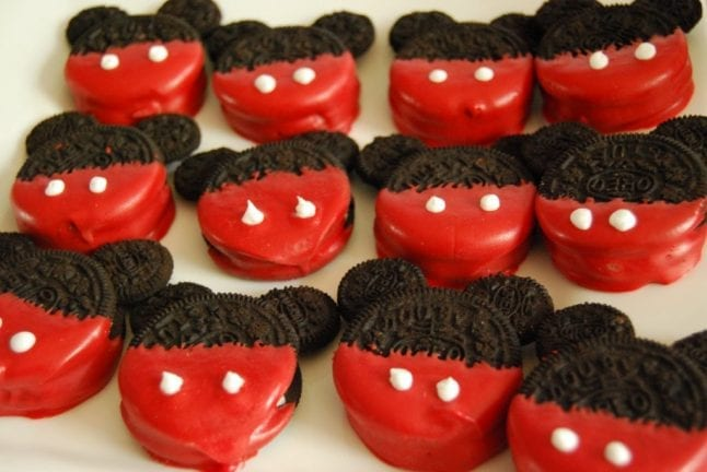 Mickey Mouse party ideas for food include these cute Oreos!