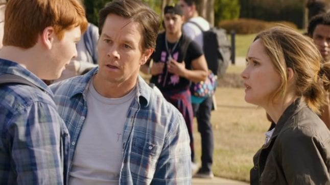 Pete and Ellie confront a teen in the movie Instant Family.