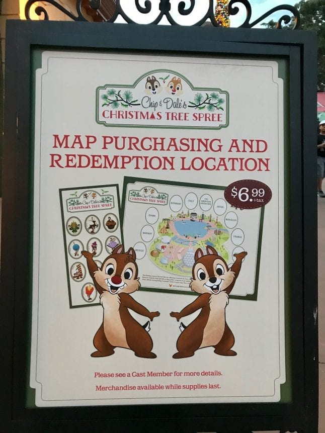 Chip and Dale take guests on a Christmas Tree Spree around the World Showcase.