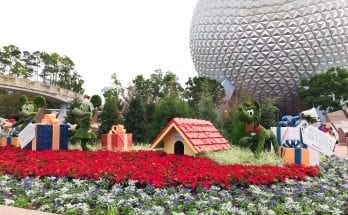 Epcot International Festival of the Holidays decorated entrance.